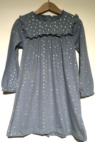 BABY BODEN GIRLS BLUE STAR JERSEY FRILL DRESS AGE 3-6 MONTHS TO 3-4 YEARS